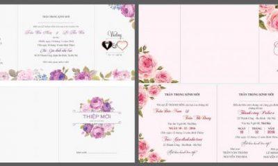 Download file mẫu thiệp cưới, Tải vector thiệp hồng cực đẹp