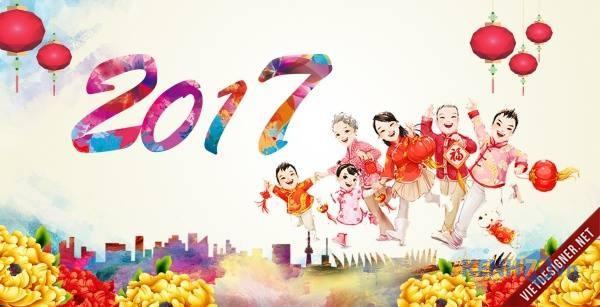 Download Vector con Gà Tết 2017 - Vector Tết Đinh Dậu 2017 miễn phí